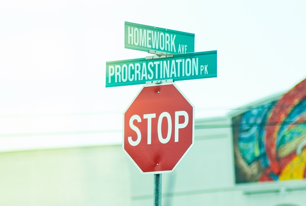 procrastinate, procrastination, homework, stay organized
